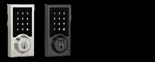 Weiser Premis HomeKit Touch Screen Contemporary Deadbolt Lock in Satin Nickel and Black