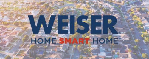 the Weiser logo overlayed on an image of a bright neighbourhood