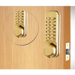 Codelocks Tubular Latchbolt, 2 Keypads Code In Out Polished Brass
