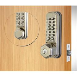 Codelocks Tubular Latchbolt, 2 Keypads Code In Out, Key Override Stainless