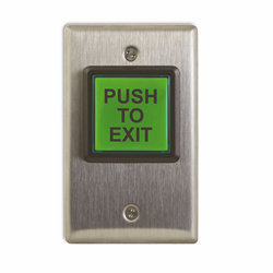Camden Illuminated REX Button, Push to Exit, Green, 12-28V, Incandescent
