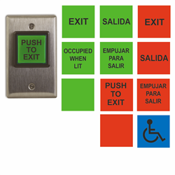 Camden Illuminated REX Button, 12 English/Spanish inserts, Red and Green