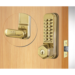 Codelocks Tubular Latchbolt with Key Override Polished Brass