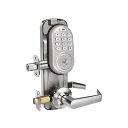 Yale Interconnected Zwave Push Button, Norwood Lever, Satin Nickel