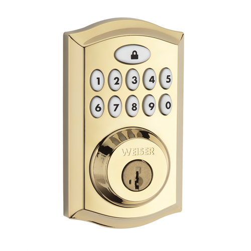 9ged18000 001 Weiser Zwave Motorized Deadbolt Polished Brass