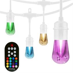 Enbrighten Seasons Vintage LED Cafe Lights, 48ft, 24 Acrylic Bulbs, White Cord