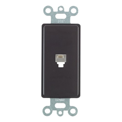 Leviton Decora Telephone Wall Jack 6P4C Black