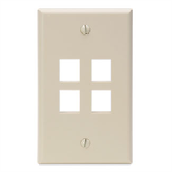 Leviton QuickPort 4 Port Wall Plate - Ivory