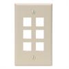 Leviton Quickport 6 Port Wallplate - Ivory