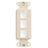 Leviton Decora Quickport Plate 3 Ports Light Almond