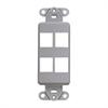 Leviton Decora Quickport Plate 4 Ports Gray