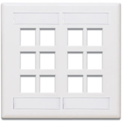 Leviton Quickport Dual Gang Wallplate with ID 12 Port White