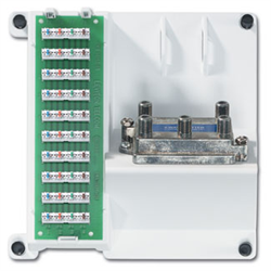 Leviton Compact Series 1x9 Telephone With 4 Way Video Splitter SMC Panel