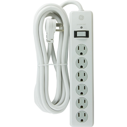 GE Surge Protected Power Bar with 10 Foot Cord, White