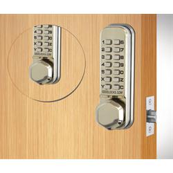 Codelocks Tubular Latchbolt, 2 Keypads Code In Out Stainless Steel