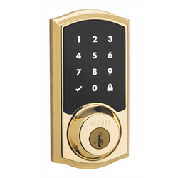 Weiser SmartCode 916 Zwave Touch Screen Deadbolt, Polished Brass