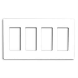 Leviton Screwless Decora Wallplate 4 Gang White