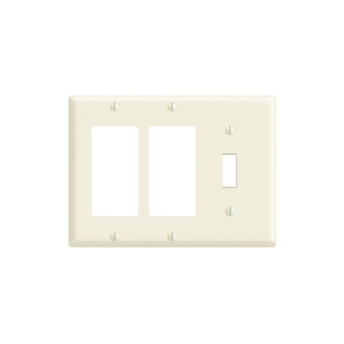 80431 W Leviton Mixed Wall Plate 3 Gang 2 Decora 1