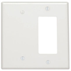 Leviton Mixed Wall Plate Midway Size 2 Gang 1 Blank 1 Decora White