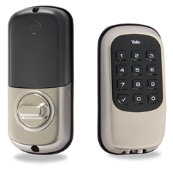 Yale Key Free Zwave Push Button Deadbolt, Satin Nickel