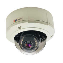 Acti Network Outdoor Zoom Dome, 5MP, Adaptive IR,WDR,3x Zoom,3-9mm,MicroSD,PoE
