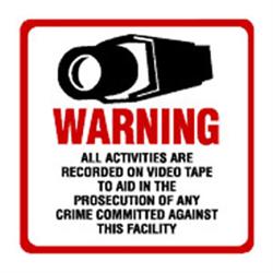 CCTV Warning Sign Large 30x30 cm Sticker