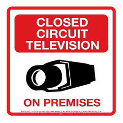 CCTV Outdoor Poly Warning Sign 10.5x10.5 CCTV On Premises