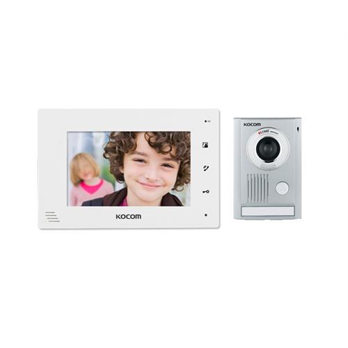 Kocom Video Door Intercom Surface Mount Door Station 7 Inch Display - White