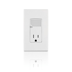 Leviton Tamper Resistant Receptacle with LED Nightlight - White