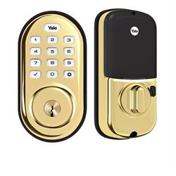 Yale Assure Lock Zwave Plus Push Button Deadbolt Polished Brass
