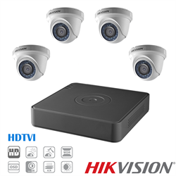 Hikvision TVI Security Camera Kit, 4 Channel DVR, 4 x 1080p Turret Cameras