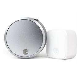 August Smart Lock Pro Zwave Plus, HomeKit, Bluetooth, Connect Bundle, Silver