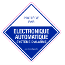 Azco Alarm Decal 4 x 4 Inches– 10 Pack- French Version