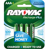 Rayovac Rechargeable NiMH AAA Batteries, 4 Pack
