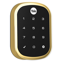 Yale Zwave Plus Slim Key Free Touchscreen Deadbolt, Bright Brass