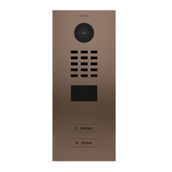 DoorBird MDU IP Video Door Intercom For 2 Tenants, 2 Buttons, Bronze-Finish