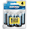 Rayovac D Alkaline Batteries, 4 Pack