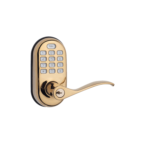 Yale Z Wave Push Button Lever Bright Brass